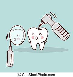 cute, caricatura, dente