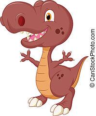 cute, caricatura, dinossauro