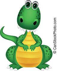 cute, caricatura, dinossauro, verde