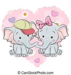 cute, caricatura, dois elefantes