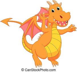cute, caricatura, dragão
