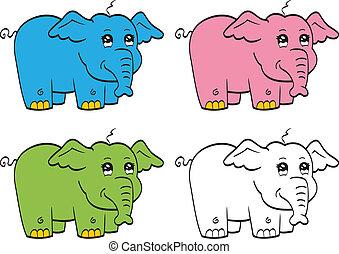 cute, caricatura, elefante