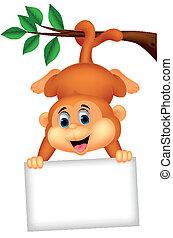 cute, caricatura, em branco, macaco, sinal