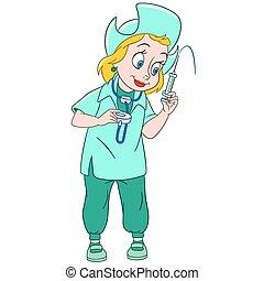 cute, caricatura, enfermeira