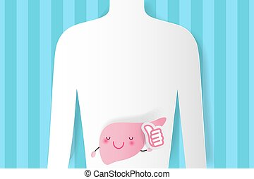 cute, caricatura, fígado