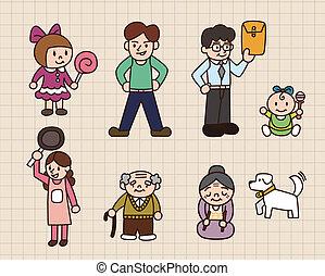cute, caricatura, família