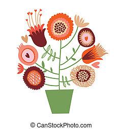 cute, caricatura, flor, árvore