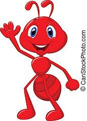 cute, caricatura, formiga, waving