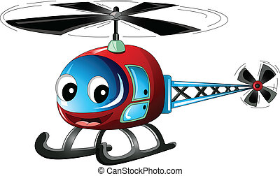 cute, caricatura, helicóptero