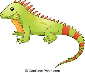 cute, caricatura, iguana