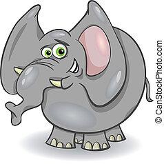 cute, caricatura, ilustração, elefante