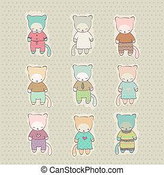 cute, caricatura, jogo, vestido, gato