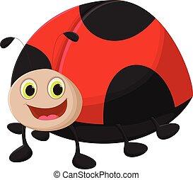 cute, caricatura, ladybug