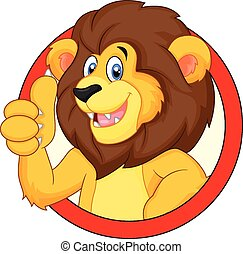 cute, caricatura, leão, dar, polegar cima