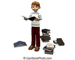 cute, caricatura, leitura menino, book.
