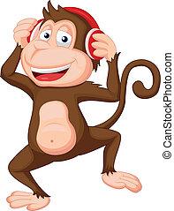 cute, caricatura, macaco, dançar