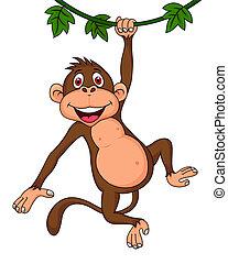 cute, caricatura, macaco, penduradas