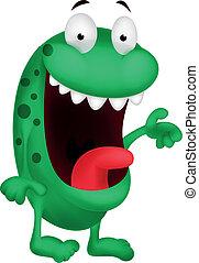 cute, caricatura, monstro verde