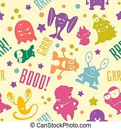 cute, caricatura, monstros, seamless, padrão
