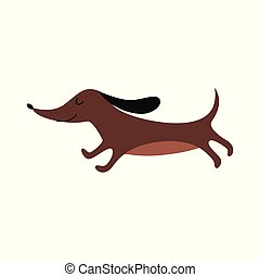 cute, caricatura, olhos marrons, cão, fechado, -, executando, bassê, wiener
