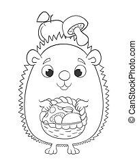 cute, caricatura, ouriço, com, cesta, maçãs, e, mushrooms., coloração, página, versão, vetorial