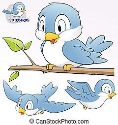 cute, caricatura, pássaros