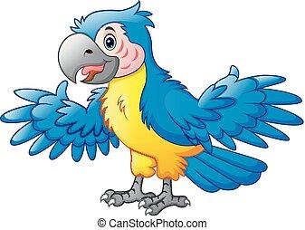 cute, caricatura, papagaio