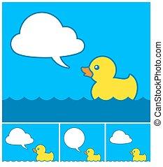 cute, caricatura, pato borracha, com, nuvem, borbulho fala