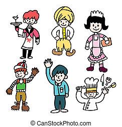 cute, caricatura, pessoas