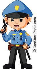 cute, caricatura, policial
