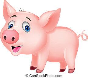 cute, caricatura, porca