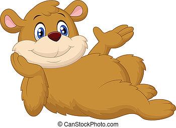 cute, caricatura, urso, relaxante