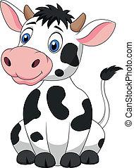 cute, caricatura, vaca, sentando