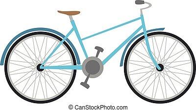 cute, caricatura, vetorial, ilustração, de, um, azul, bicicleta