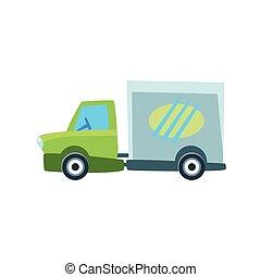cute, carro brinquedo, caminhão entrega, pequeno, ícone
