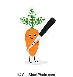 Cute carrot character with baseball bat