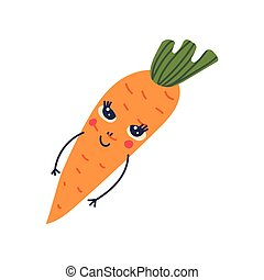 Cute Carrot with Smiling Face, Adorable Funny Vegetable Cartoon Character Vector Illustration