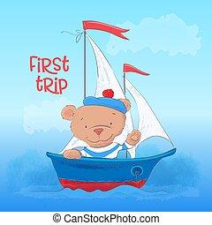 cute, cartão postal, cartaz, steamboat, jovem, urso, mão, drawing., caricatura, style.
