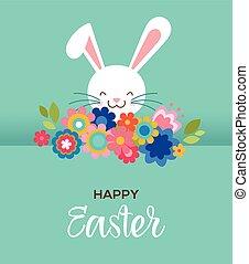 cute, cartaz, cartão, doce, saudação, flores, bunny easter, feliz