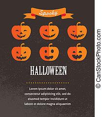 cute, cartaz, dia das bruxas, ilustração, vetorial, pumpkins.