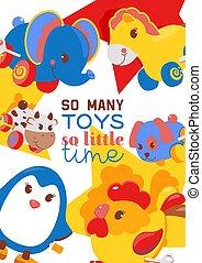 cute, cartaz, gifts., clockwork, luminoso, brinquedos, horse., pingüim, crianças, lata, galo, vaca, elefante, tal, bandeira, cão, animais, illustration., windup, vetorial, mecânico, mecânico