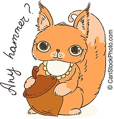 Cute carton squirrel with nut. Vector illustration for kids and children.