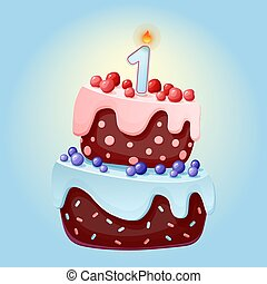 Cute cartoon 1 year birthday festive cake with one candle. Chocolate biscuit with berries, cherries and blueberries. for parties, anniversaries