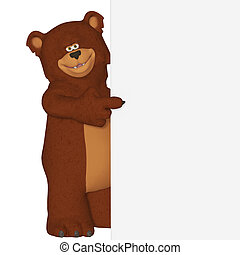 Cute cartoon 3d bear with a blank frame - isolated on the...