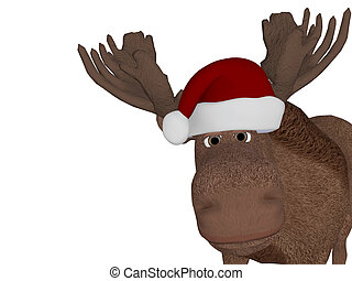 Cute cartoon 3d moose with a christmas hat - cute happy...