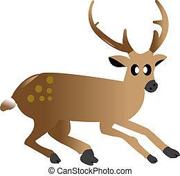 cute cartoon a deer on white ground