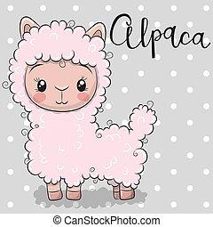 Cute Cartoon alpaca on a gray background - Cute Cartoon pink...