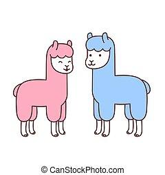 Cute cartoon alpacas couple. Isolated vector illustration.