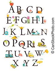 Cute cartoon alphabet illustration