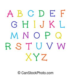 Cute cartoon alphabet. Vector funny font. Doodle illustration